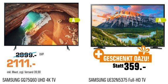 Samsung 75 QLED UltraHD Fernseher + 32 Full HD TV für 2111€ (statt 2.315€)