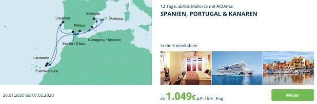 🚢 AIDA Wochenendeinkauf z.B. 12 Tage Spanien, Portugal & Kanaren ab 1.049€ p.P. inkl. Flug