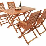 SYDNEY Garten Sitzgruppe aus Akazienholz (Tisch, 4 Stühle) für 116,95€
