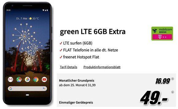 Google Pixel 3a XL für 49€ + Teleko Allnet Flat mit 6GB LTE für 16,99€ mtl.