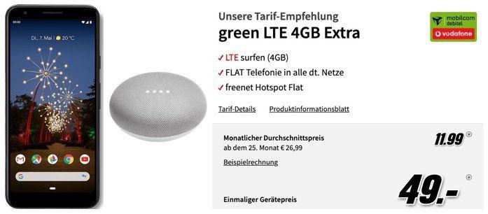 Google Pixel 3a + Google Home mini für 49€ + Vodafone Flat mit 4GB LTE für rechn. 11,99€mtl.