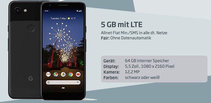 Google Pixel 3a für 1€ + o2 Allnet Flat mit 5GB LTE für 14,99€ mtl.
