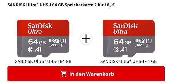 2x Sandisk Ultra A1 64GB microSDXC UHS I Class10 für 18€ (statt 25€)