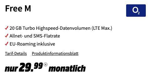 o2 Allnet Flat mit 20GB LTE Max für 29,99€mtl + dazu: 450€ MediaMarkt Coupon