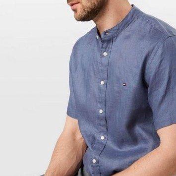 Tommy Hilfiger Kurzarm Leinenhemd mit Stehkragen in S und L für 50,86€ (statt 90€)