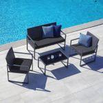 Gartengarnitur Moni inkl. Sitzbank, 2 Stühlen und Tisch mit Glasplatte für 111,75€  (vorher 249€)
