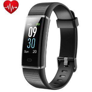 Yuanguo Fitness Armband mit Pulsmesser und Schrittzähler Wasserdicht IP68 für 19,99€