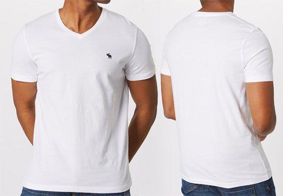 3er Pack: Abercrombie & Fitch V Neck T Shirt in Weiß für 30,53€ (statt 45€)