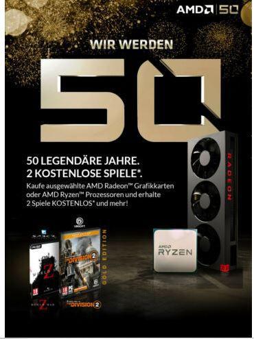 AMD Ryzen 7 2700X Prozessor 8 Kerne 3,7Ghz boxed mit Wraith Prism Kühler für 259,90€ (statt 289€) + 2 Games