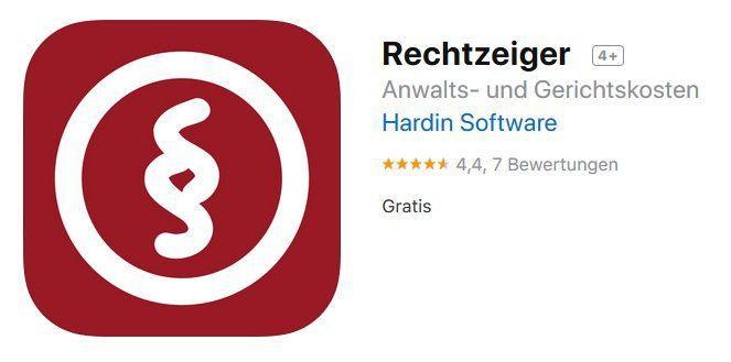 iOS: Mit Rechtzeiger Anwalts & Gerichtskosten kostenlos (statt 7€) berechnen