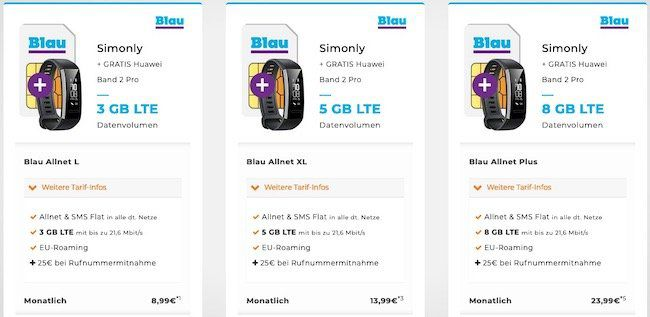 Blau Allnet Flat z.B. mit 3GB LTE für 8,99€ + Huawei Band 2 Pro dazu