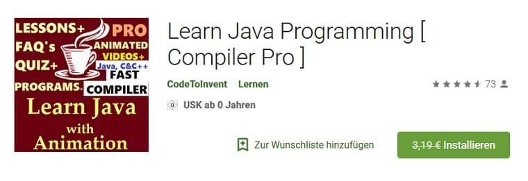Android: Learn Java Programming [ Compiler Pro ] kostenlos (statt 3€)