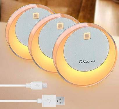 3er Pack LED Nacht  & Schranklicht mit Bewegungsmelder für 18,49€