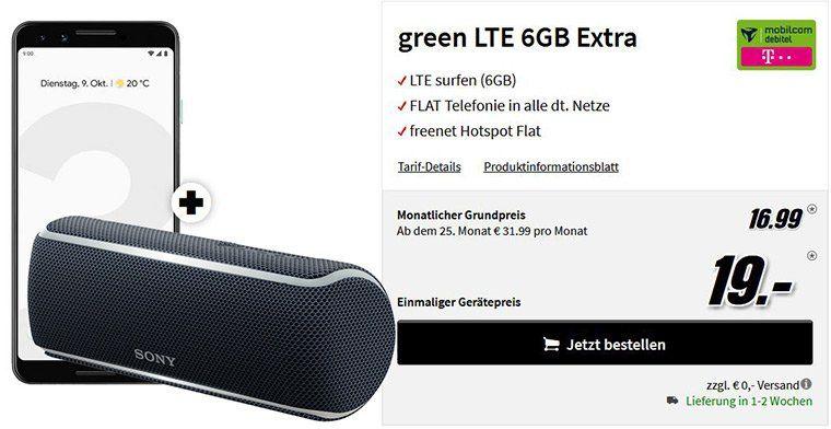 Endet heute: 🔥 Google Pixel 3 + Sony SRS XB 21 für 19€ + Telekom oder Vodafone Flat mit 6GB LTE für 16,99€ mtl.