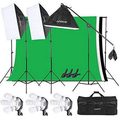 Andoer Studioset mit Greenscreen, 3 Softboxen & mehr für 84,49€ (statt 130€)