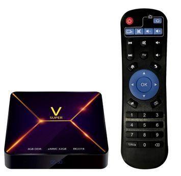 SUPER V   TV Box mit 4/32GB, Android 9 & Fernbedienung für 31,85€   aus DE