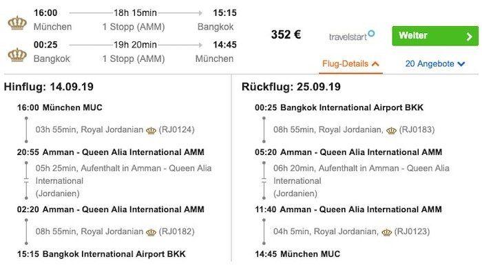 Thailand: Hin  und Rückflug von München nach Bangkok inkl. 30kg Gepäck ab 352€