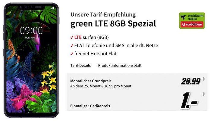 LG G8S ThinQ 128GB für 1€ + Vodafone Allnet Flat mit 8GB LTE für 26,99€mtl.