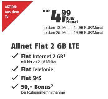 Vodafone Allnet Flat von klarmobil mit 2GB LTE für 9,99€mtl. + 50€ Bonus bei Rufnummermitnahme