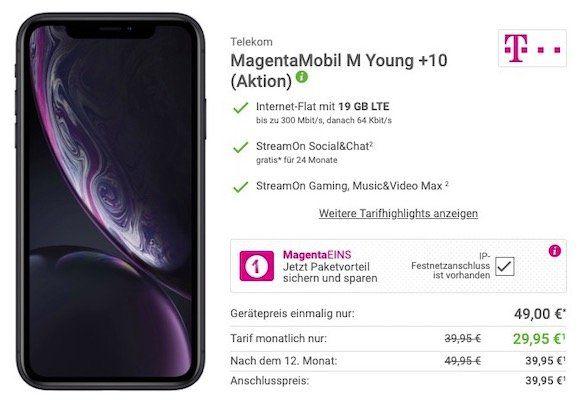 iPhone XR nur 49€ + Telekom Flat mit 19GB LTE für 34,95€ mtl.   nur Junge Leute + MagentaEins