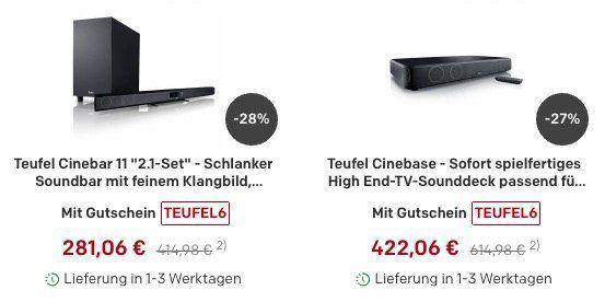 Teufel Flash Sale + 6% oder 10€ Gutschein + keine Versandkosten + 5 fach Superpunkte