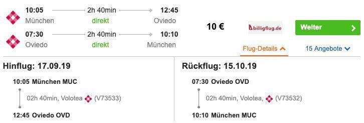 Spanien: Hin  und Rückflug von München nach Oviedo inkl. Handgepäck ab 10€