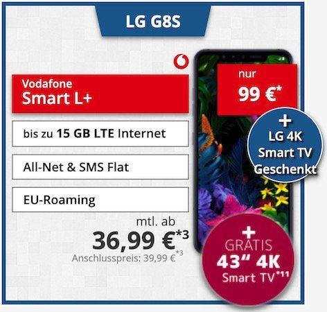 LG G8S mit 128GB für 99€ + gratis 43 LG UHD TV (Wert 394€) + Vodafone Flat mit 10GB LTE für 36,99€ mtl. (junge Leute 15GB)