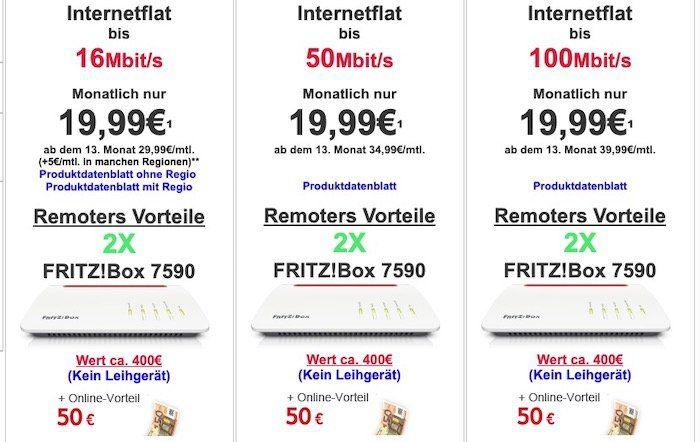 🔥Knaller!🔥 Vodafone DSL bis 100k inkl. Fritzbox 7530 oder 50€ Online Vorteil + 2er Pack Fritzbox 7590 ab 24,99€ mtl.