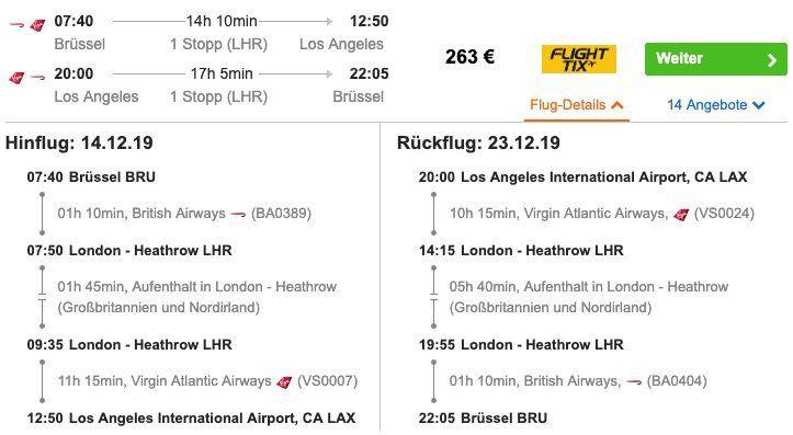 USA: Hin  und Rückflug von Brüssel nach Los Angeles inkl. Freigepäck ab 263€