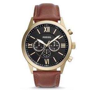 Fossil Flynn Herren Armbanduhr mit braunem Lederarmband für 58,65€ (statt 109€)