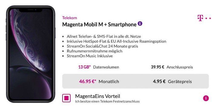 iPhone XR 128GB für 4,95€ + Telekom Flat mit bis zu 13GB LTE ab 46,95€ mtl.