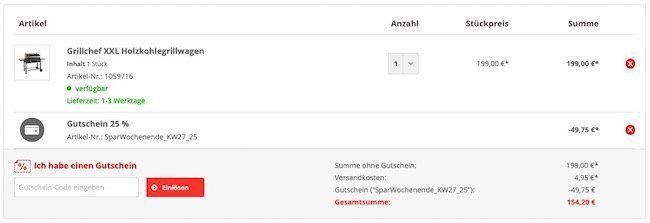 Grillchef XXL Holzkohlegrillwagen für direktes und indirektes Grillen für 154,20€ (statt 246€)
