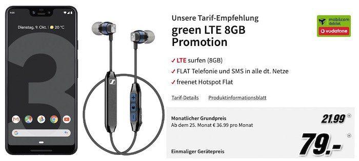 Google Pixel 3 XL + Sennheiser CX6 Kopfhörer für 79€ + Vodafone Allnet Flat mit 8GB LTE für 21,99€ mtl.