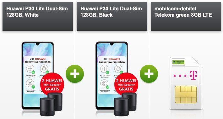 2x Huawei P30 lite + 2x Huawei Speaker für 4,95€ + Telekom Flat mit 8GB LTE für 36,99€ mtl.