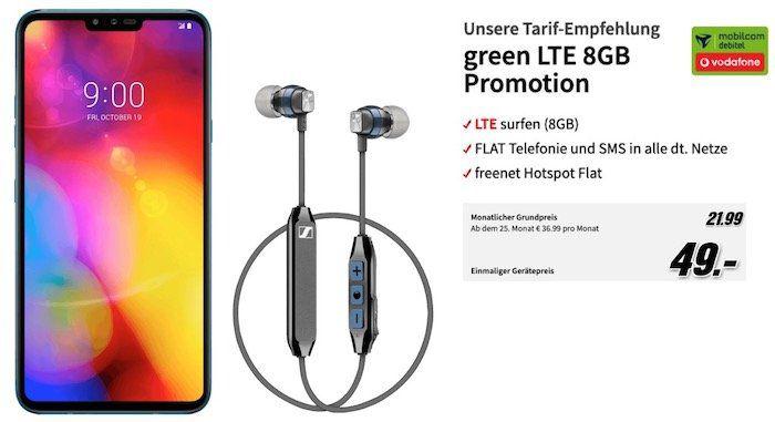 LG V40 ThinQ + Sennheiser CX6 für 49€ + Vodafone oder Telekom Allnet Flat mit 10GB LTE für 21,99€ mtl.