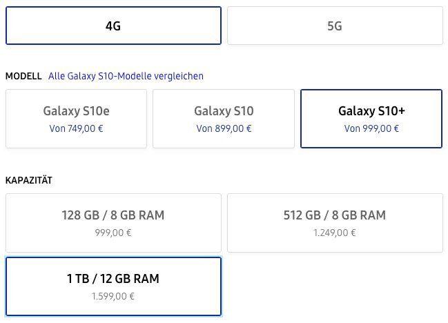 Galaxy S10 Plus 1TB mit 12GB RAM + Galaxy Buds bei Samsung inkl. Vertrag mit effektivem Gewinn