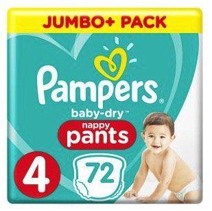 72er Pack Pampers Baby Dry Pants Gr. 4 (9 15kg) für 19,24€ (statt 25€)