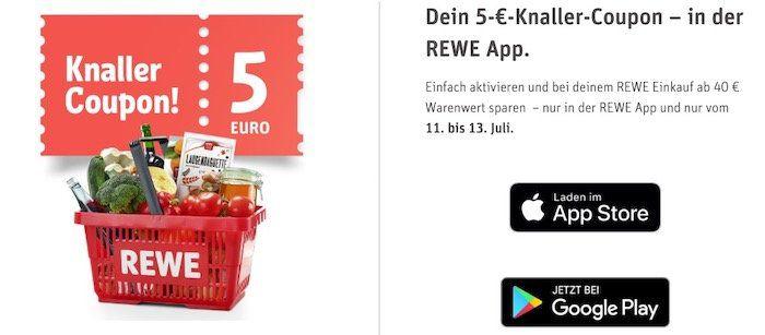 REWE: 5€ Rabatt ab 40€ Einkauf online und offline   Coupon in der App