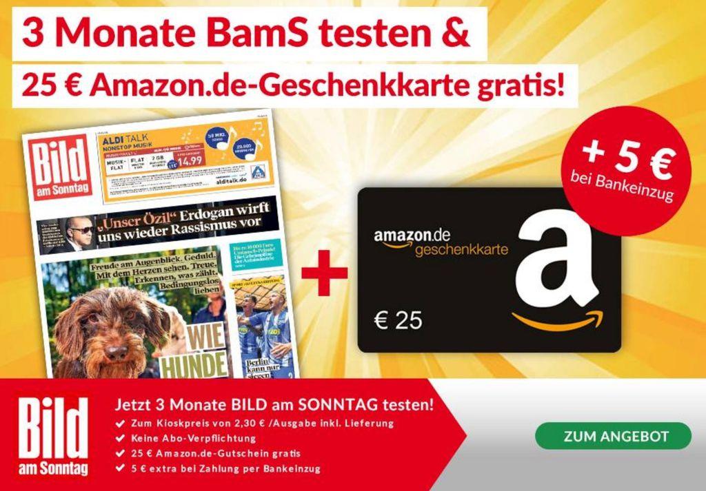 3 Monate BILD am Sonntag ab 24,90€ + 25€ Amazon Gutschein