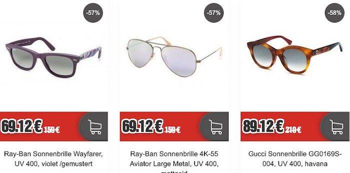 Restposten Marken Sonnenbrillen (Ray Ban, Gucci ...)   z.B. Ray Ban Wayfarer violet für 74,24€ (statt 90€)