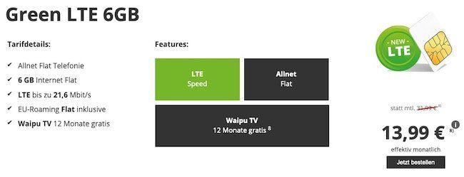 Allnet Flatrate im Vodafone Netz mit 6GB LTE für 13,99 Euro   inkl. Waipu 12 Monate gratis