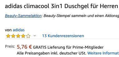 6er Pack adidas climacool 3in1 Duschgel für Herren für 5,76€ (statt 11€)   Prime