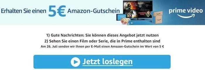 5€ Amazon Gutschein für 5 Minuten Prime Video schauen   nur Prime Video Neukunden oder 6 Monate nicht genutzt
