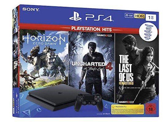 Vorbei! PlayStation 4 Slim mit 1TB + Games (Uncharted 4, The Last of Us, Horizon Zero Dawn) ab 170,10€ (statt 290€)   B Ware