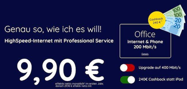 Gewerbe: Kabel Internet  & Telefon 200 Mbit + FRITZ!Box 6490 für 19,90€ (netto) mtl. durch Auszahlung   400 Mbit 34,90€