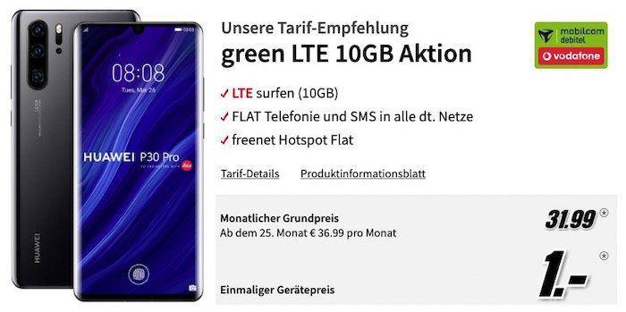 Huawei P30 Pro nur 1€ + Vodafone Flat von mobilcom mit 10GB LTE für 31,99€ mtl.