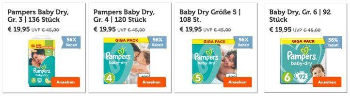 Bis zu 56% Rabatt auf Pampers Multipacks z.B. Pampers Baby Dry (92 136 Stück) für 25,90€