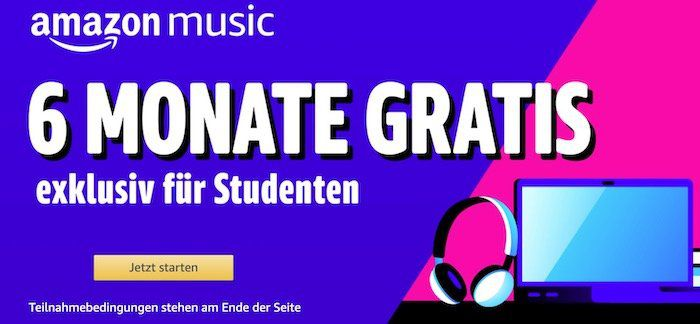 Studenten: 6 Monate Amazon Music Unlimited gratis (statt 30€)