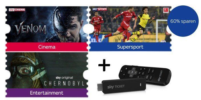 Sky Ticket: 1 Monat Supersport, Cinema & Entertainment für 29,99€ (statt 50€) + gratis TV Stick