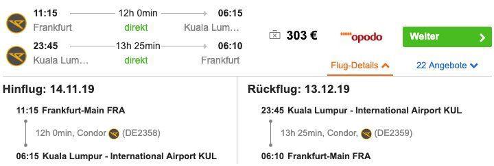 Malaysia: Hin  und Rückflug von Frankfurt nach Kuala Lumpur ab 303€